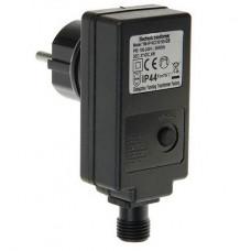 Трансформатор Luazon для комнатных гирлянд 220/24 В до 100Led, 2жилы 8 режимов, для Гирлянда-нить, Бахрома, Сетка, цвет чёрный, темна нить