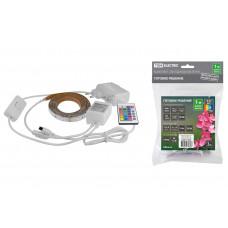 Лента диодная 12В IP20 7.2Вт/м RGB 5050 30LED/м 1м TDM комплект пульт ДУ (5)