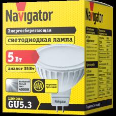 Лампа диодная MR16 GU5.3 5Вт 4200К 400Лм Navigator (20)