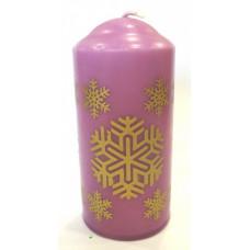 Свеча новогодняя столб 12см горение 20 часов Снежинка Этно цвет в ассортименте (24)