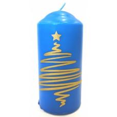 Свеча новогодняя столб 12см горение 20часов Елка цвет в ассортименте (24)
