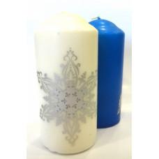 Свеча новогодняя столб 12см горение 20часов Снежинка цвет в ассортименте (24)