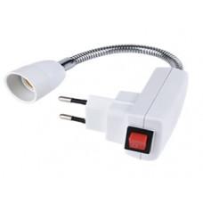 Переходник гибкий вилка-Е14 150мм выключатель Ecola белый