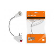Переходник вилка-Е27 300мм выключатель TDM белый (12)