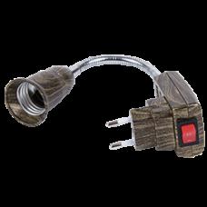 Переходник гибкий вилка-Е27 150мм выключатель Ecola чернёная бронза
