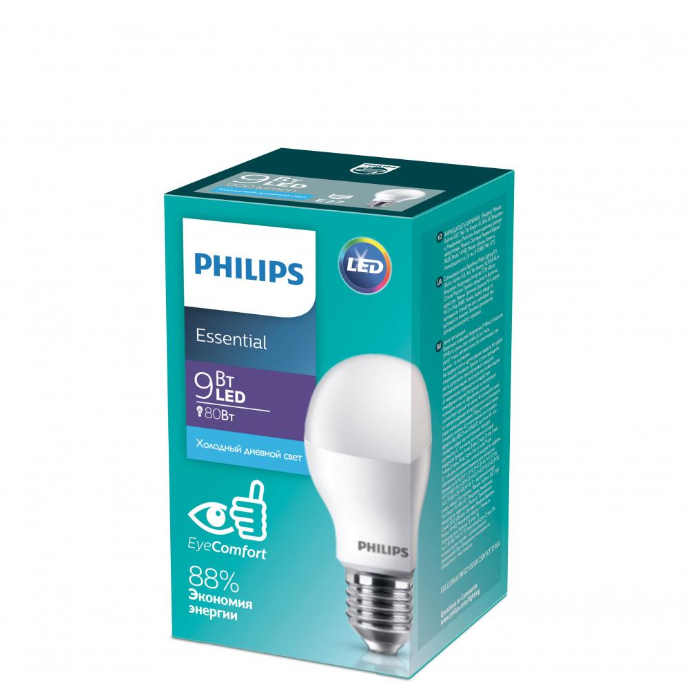 Лампа диодная A60 9Вт Е27 6500К 900Лм Philips Essential (12)
