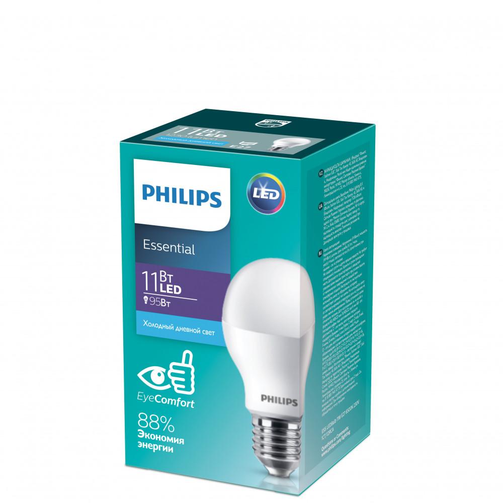 Лампа диодная A60 11Вт Е27 6500К 1230Лм Philips Essential (12)