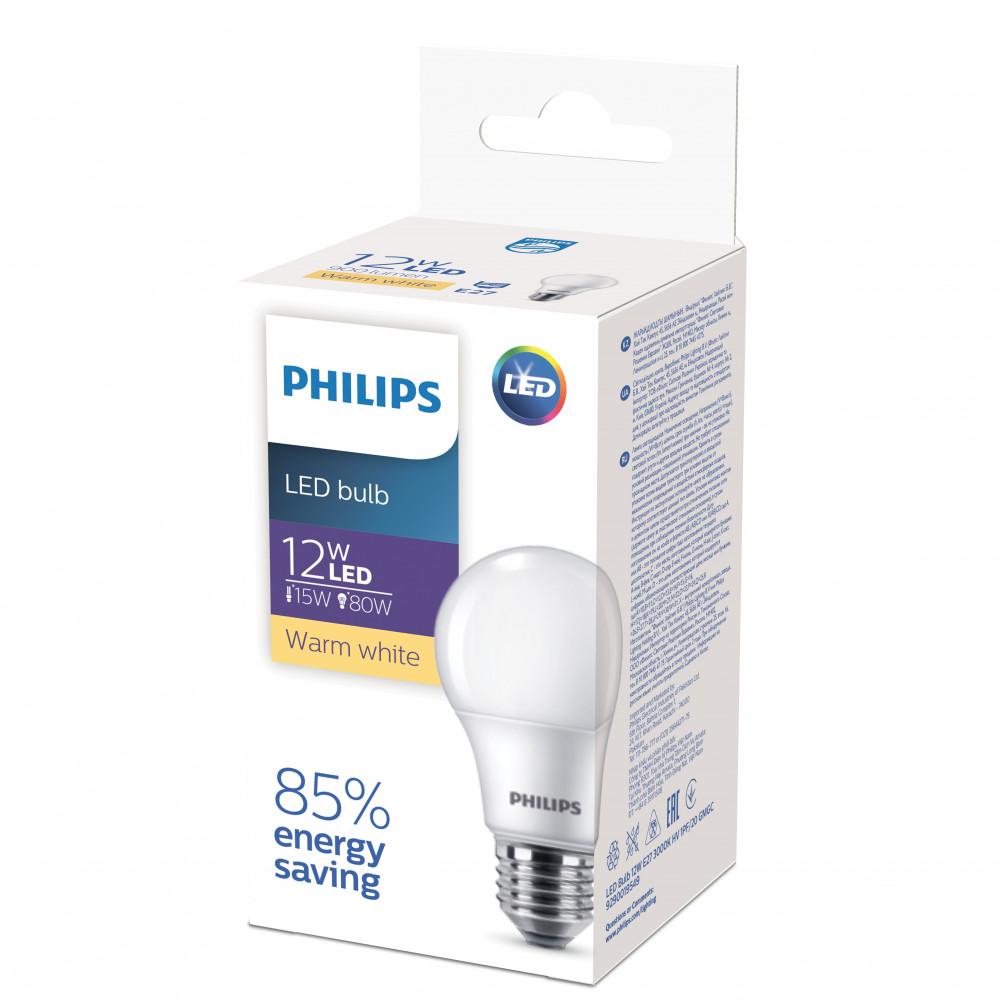 Лампа диодная A60 12Вт Е27 3000К 900Лм Philips ECO (20)