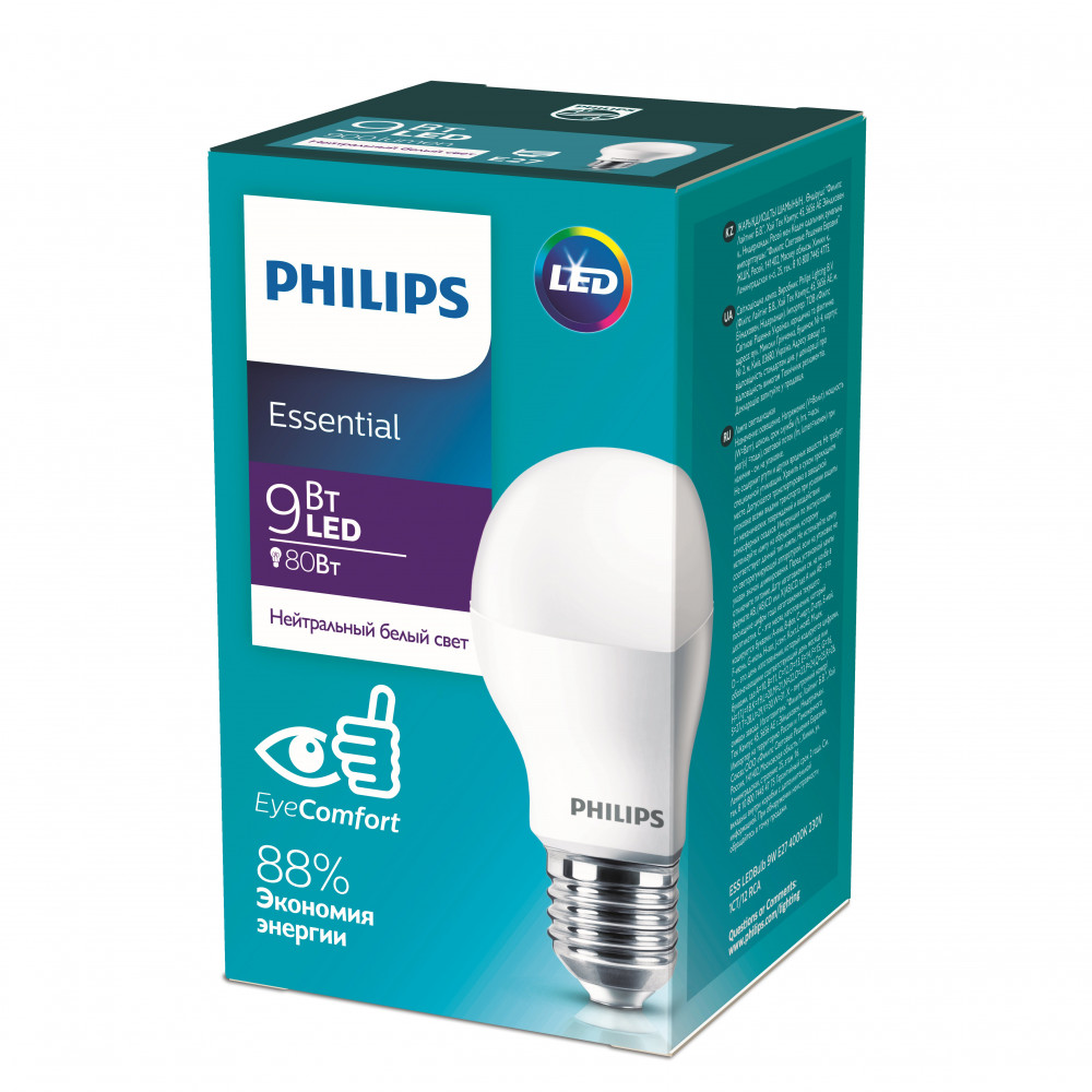 Лампа диодная A60 9Вт Е27 3000К 900Лм Philips Essential (12)