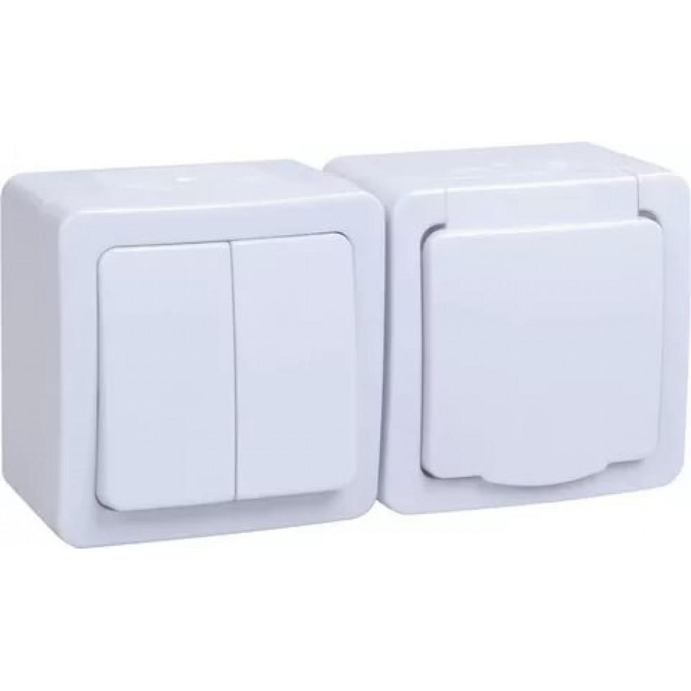 Блок IEK Гермес 2кл. + 1м c/з IP54 белый (5/50)