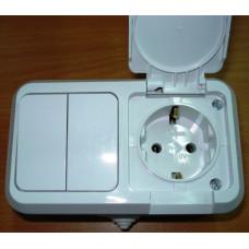 Блок Makel IP44 Выкл. 2ОП + Розетка 1ОП белый (6)