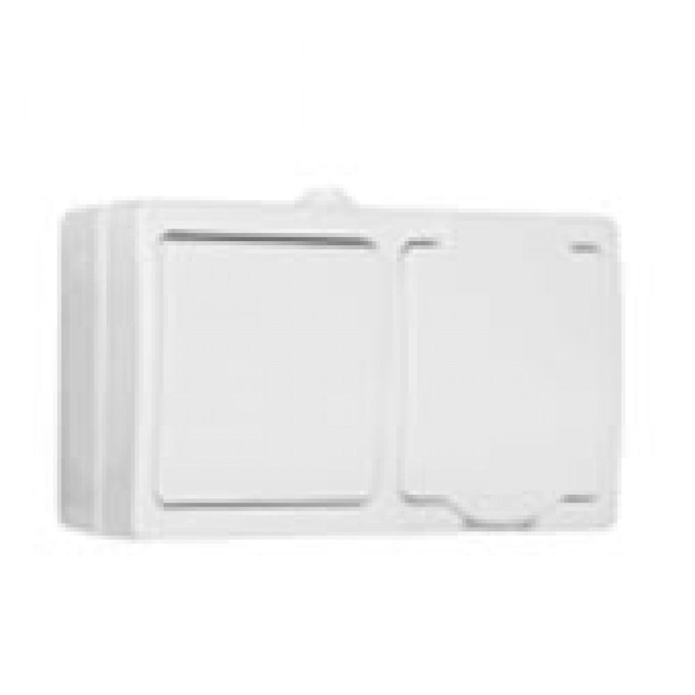 Блок Аллегро (выключатель 1кл. + розетка с/з) белый IP54 (5)