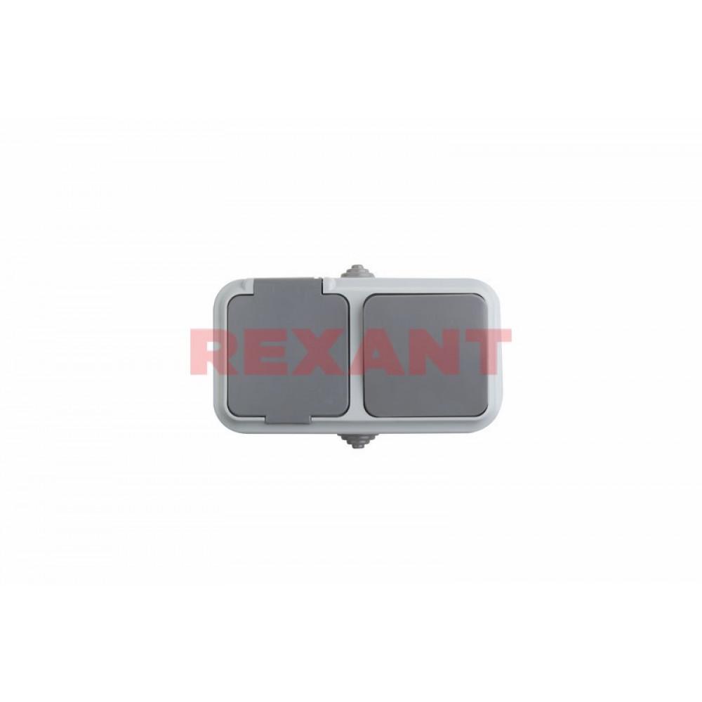 Блок Rexant выкл. 1ОП+роз.1ОП б/з серый (30)