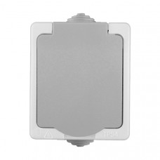 Pозетка Аллегро 1-ая серый с/з крышка IP54 (10)