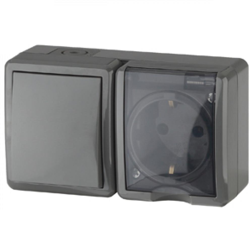 Блок Эра Эксперт 1кл+розетка IP54 с заземлением серый (8)