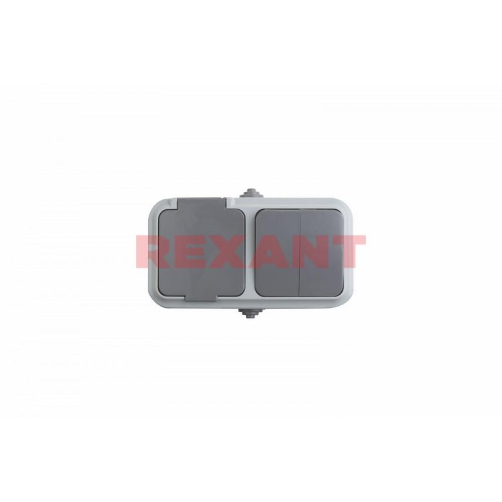 Блок Rexant выкл. 2ОП+роз.1ОП б/з серый (30)