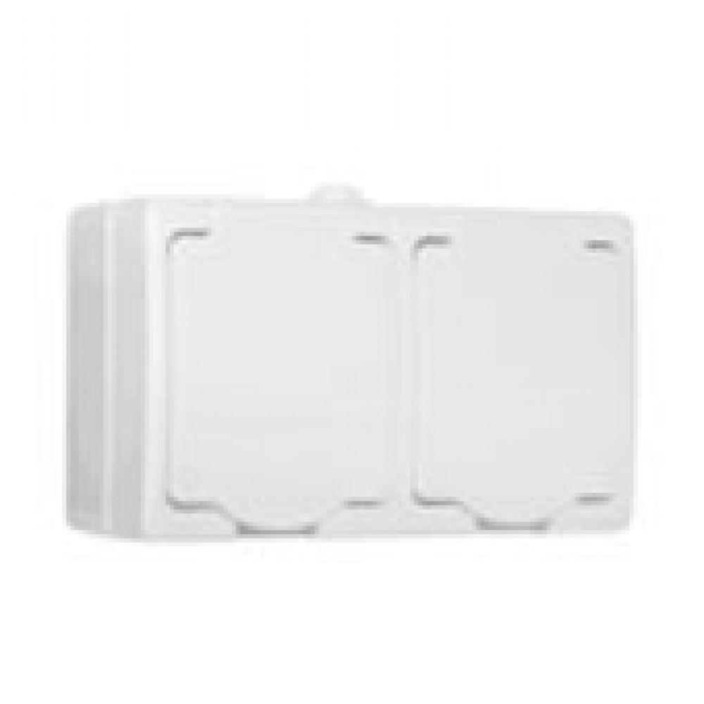 Pозетка Аллегро 2-ая белый с/з крышка IP54 (5)