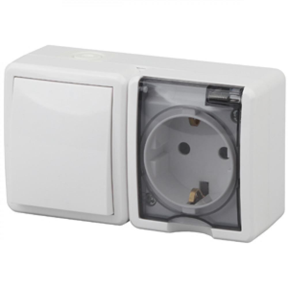 Блок Эра Эксперт 1кл+розетка IP54 с заземлением белый (8)