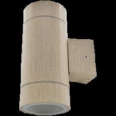 Светильник уличный настенный GX53x2 Ecola 8013A IP65 цилиндр металл светлое дерево 205x140x90мм