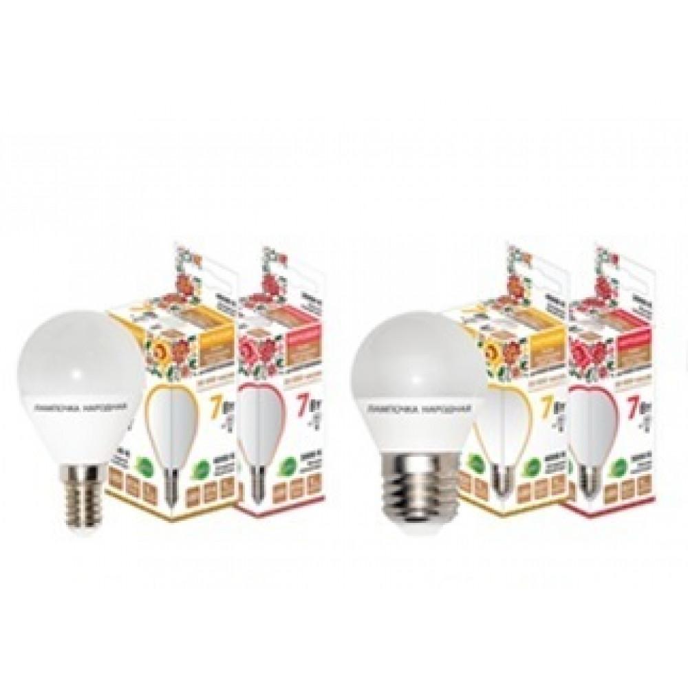 Лампа диодная шар G45 7Вт Е27 4000К 560Лм TDM Народная (10/100)