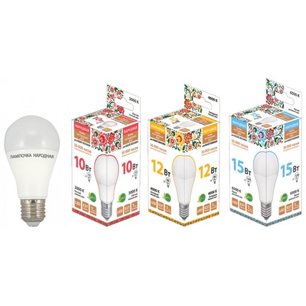 Лампа диодная A60 12Вт Е27 4000К 960Лм TDM Народная (10)