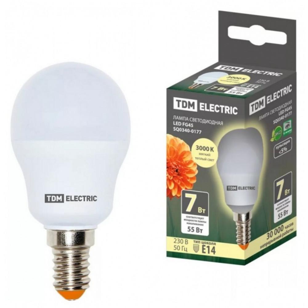 Лампа диодная шар G45 7Вт Е27 3000К 510Лм TDM (10/100)