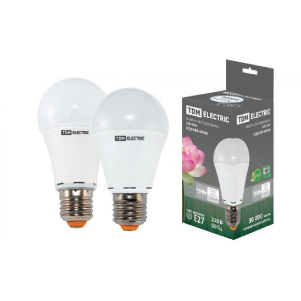Лампа диодная A60 15Вт Е27 4000К 1200Лм TDM (10/100)