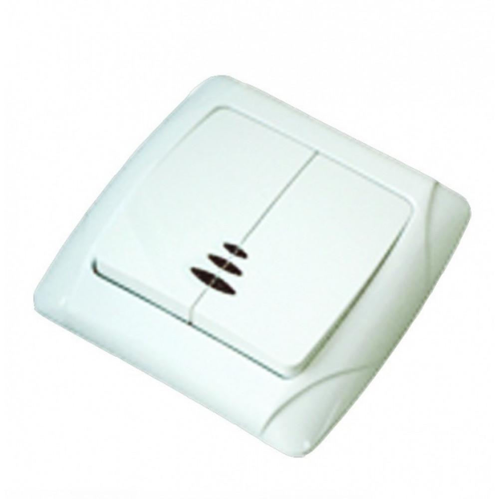 Выключатель TDM Онега 2кл. белый подсветка (10/200)