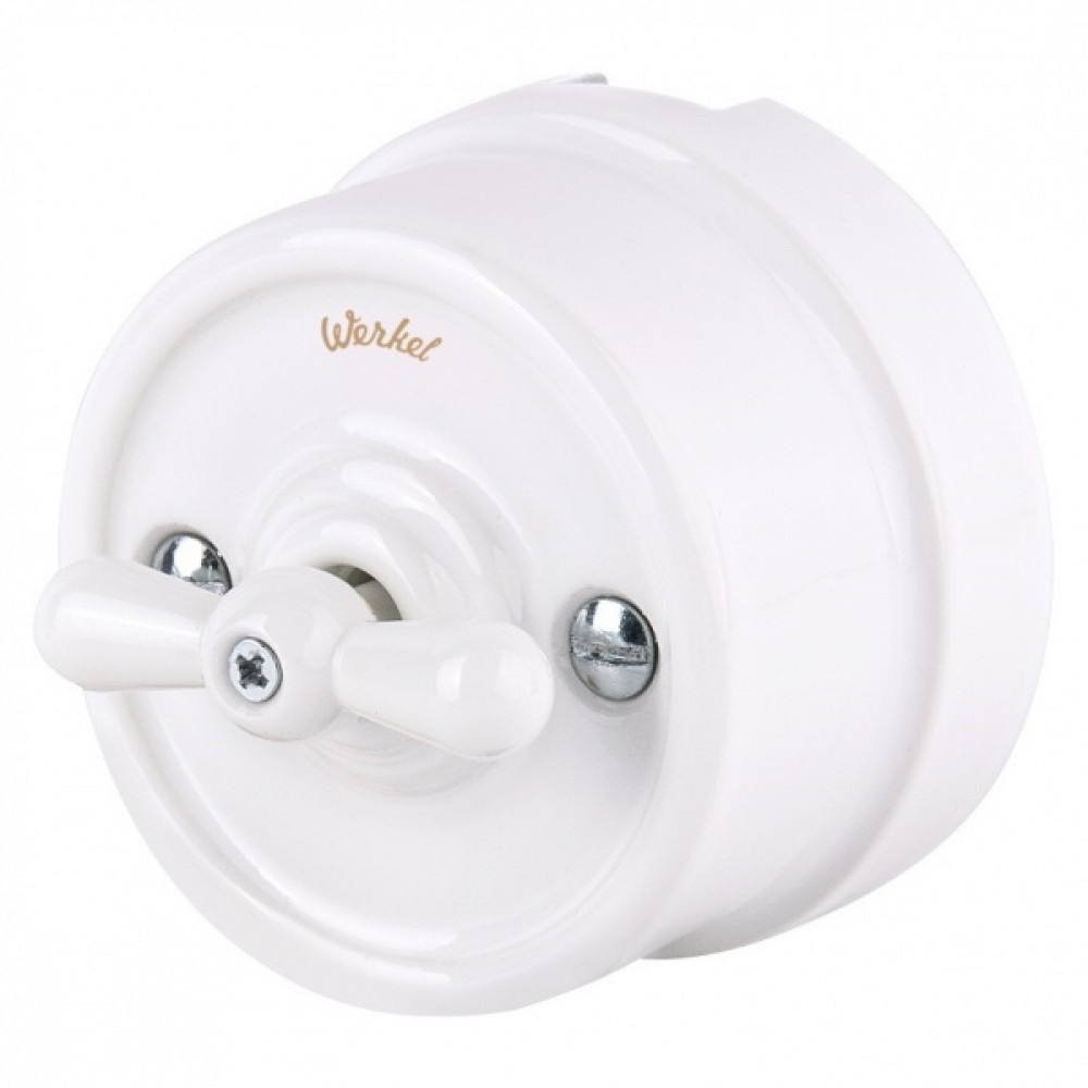 Выключатель Werkel Retro 2кл белый (10)