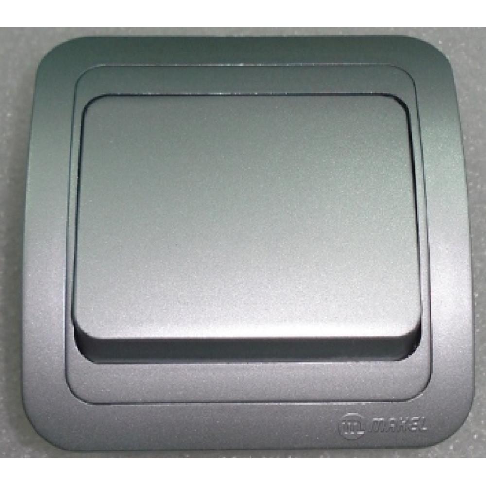 Выключатель Makel Mimoza 1 кл. серебро проходной (12)