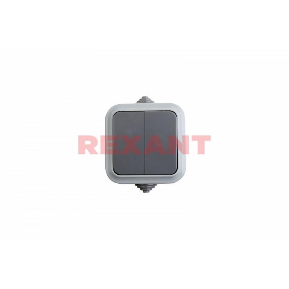 Выключатель Rexant 2кл. IP54 серый (1/60)
