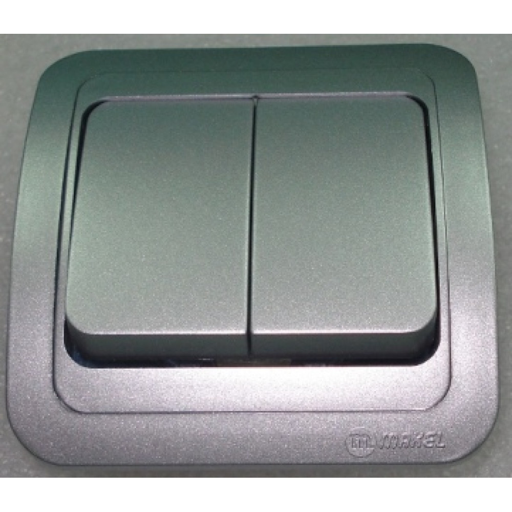 Выключатель Makel Mimoza 2 кл. серебро (12)