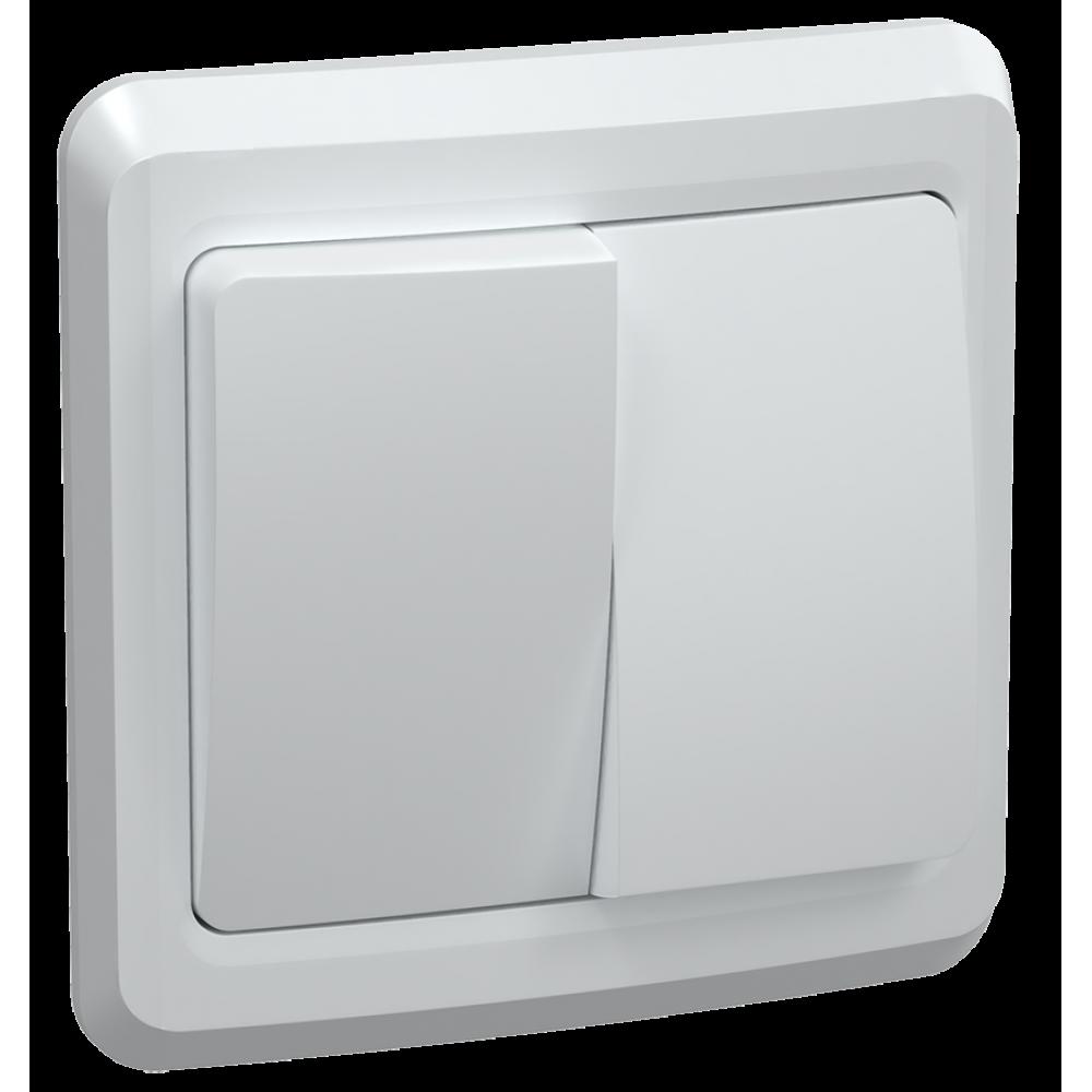 Выключатель IEK Вега 2кл. белый (50/200)