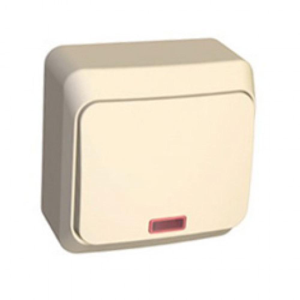 Выключатель EL-Bi ALSU 1кл. крем подсветка (10)