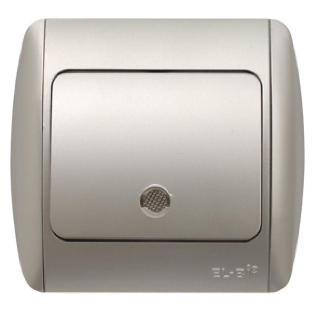 Выключатель EL-Bi ZIRVE 1кл. серебро подсветка (10)