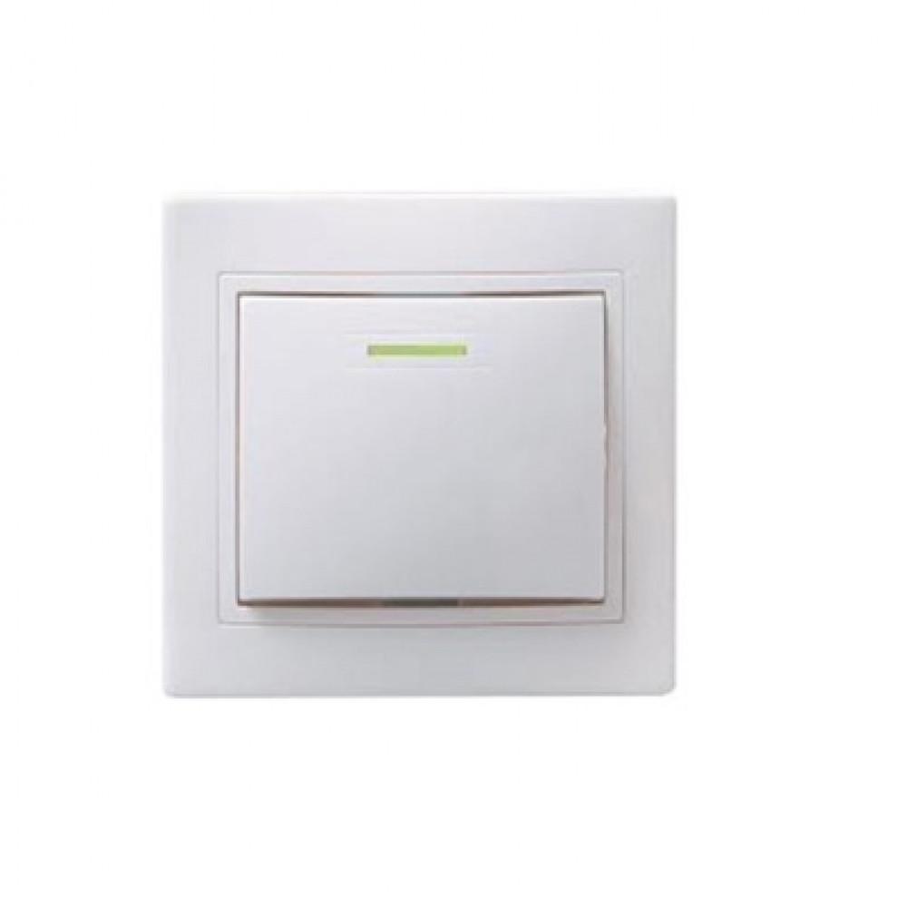 Выключатель IEK Кварта 1кл. белый подсветка (10/200)