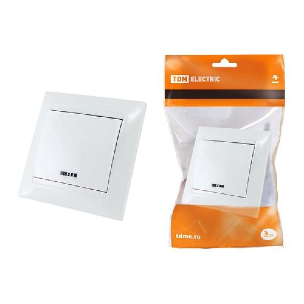 Выключатель TDM Лама 1кл. белый подсветка (10/120)