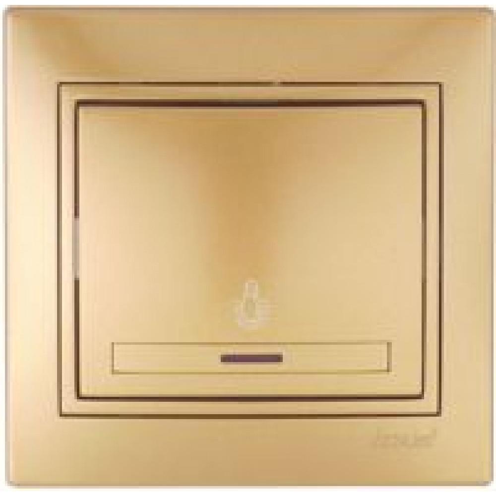 Выключатель Lezard Mira 1кл. золото подсветка (10/120)