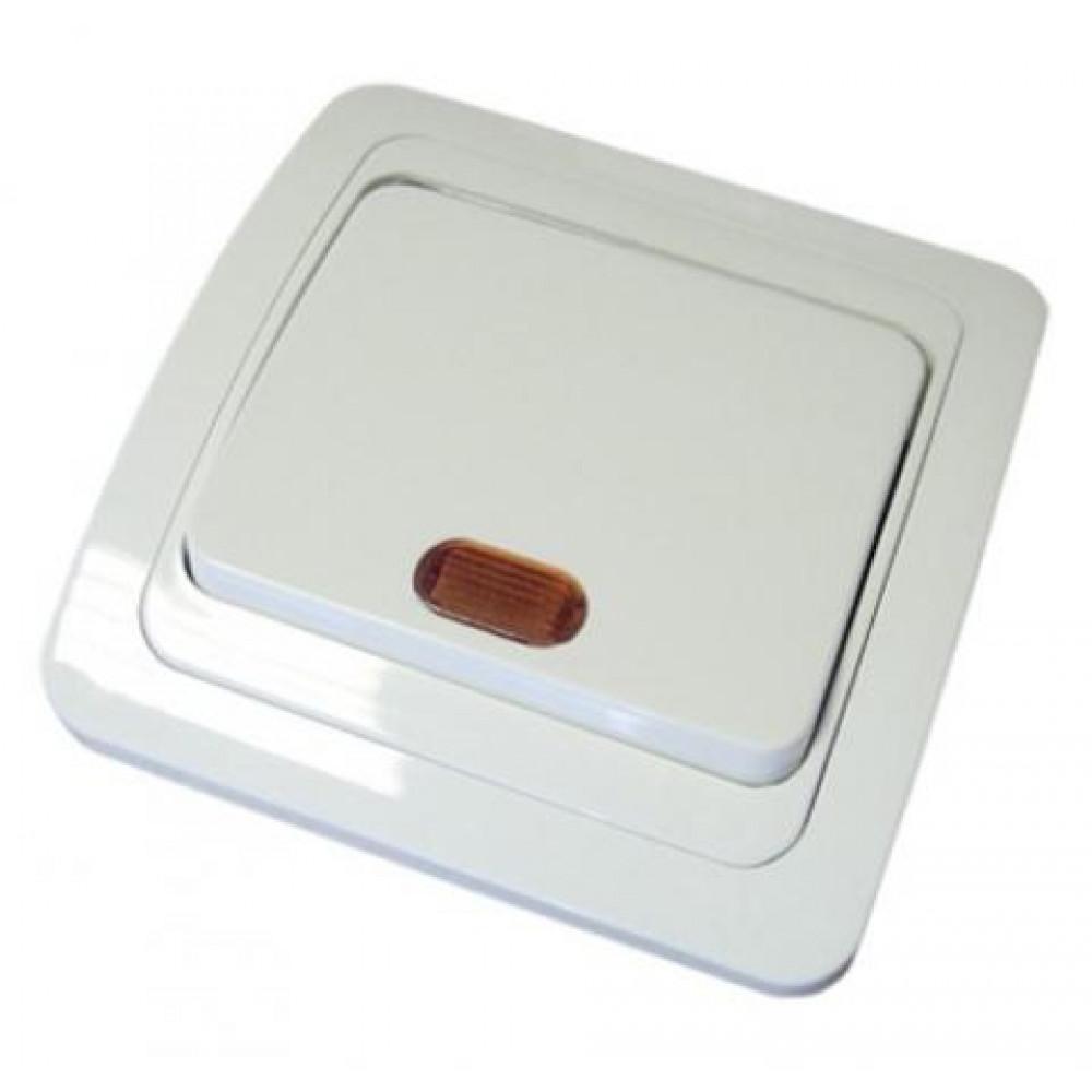 Выключатель TDM Валдай 1кл. белый подсветка (10/200)