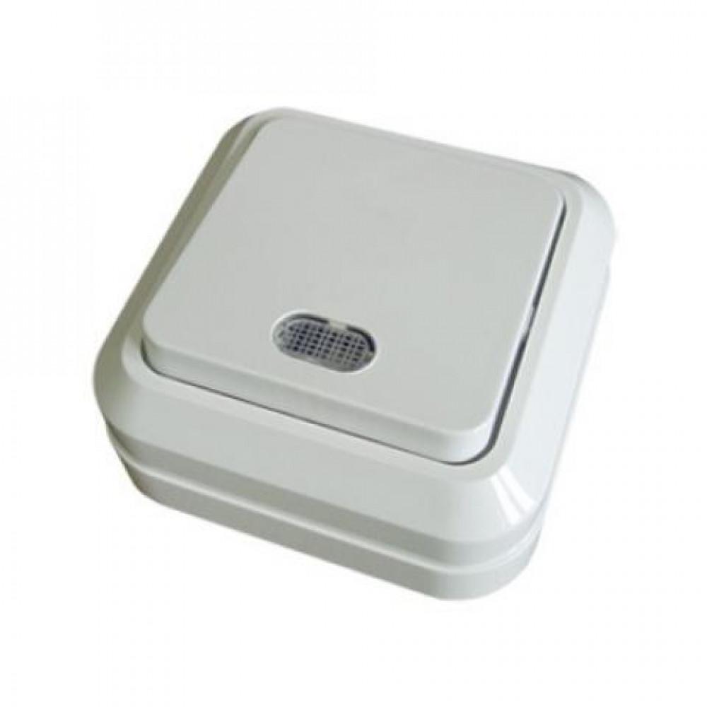 Выключатель TDM Ладога 1кл. белый подсветка (10/200)