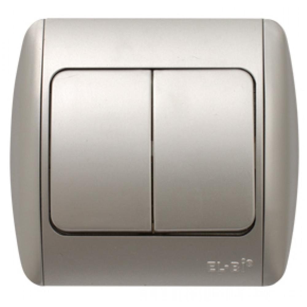 Выключатель EL-Bi ZIRVE 2кл. серебро (10)