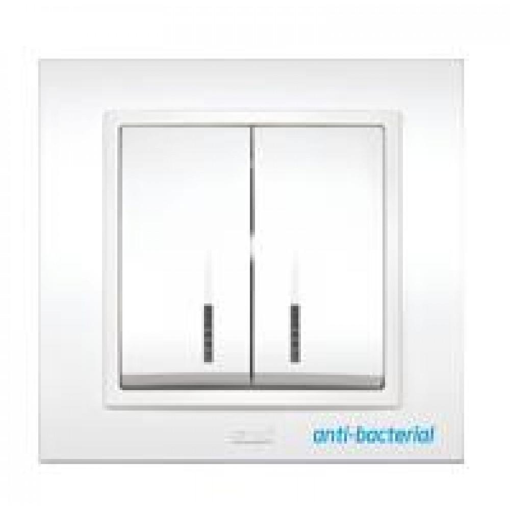 Выключатель EL-Bi Zena 2кл. белый подсветка в сборе (10/60)