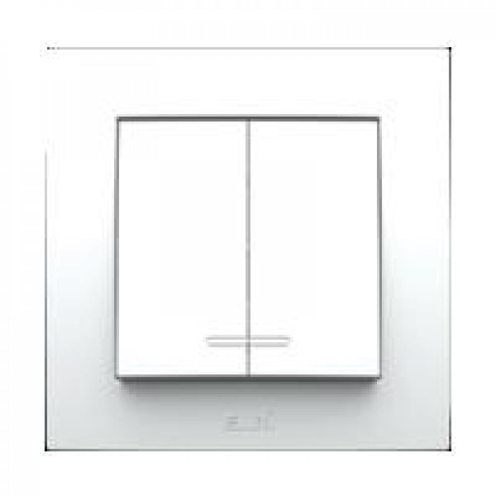 Выключатель EL-Bi NEO 2кл. белый подсветка (20/120)