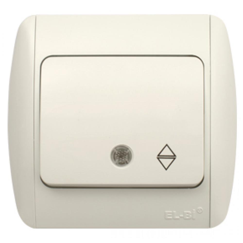 Выключатель EL-Bi ZIRVE 1кл. белый проходной подсветка (10)