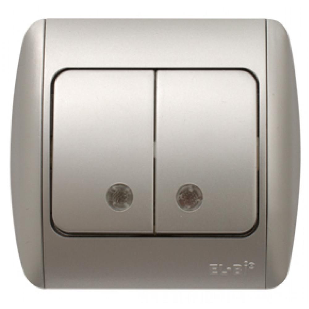 Выключатель EL-Bi ZIRVE 2кл. серебро подсветка (10)