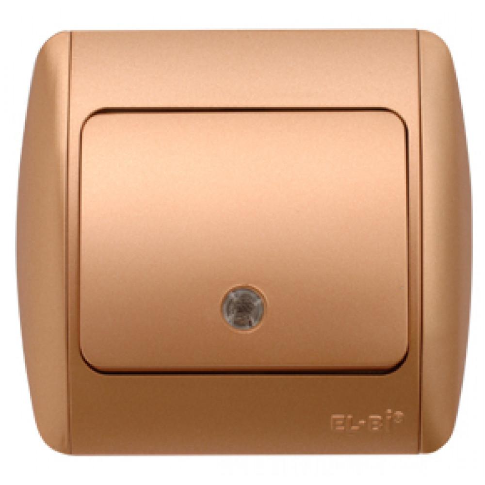 Выключатель EL-Bi ZIRVE 1кл. золото подсветка (10)