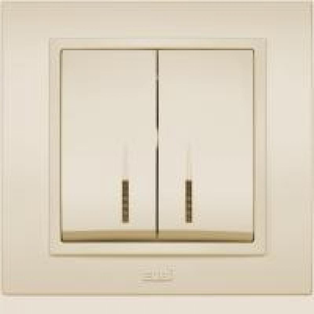 Выключатель EL-Bi Zena 2кл. крем подсветка в сборе (10)