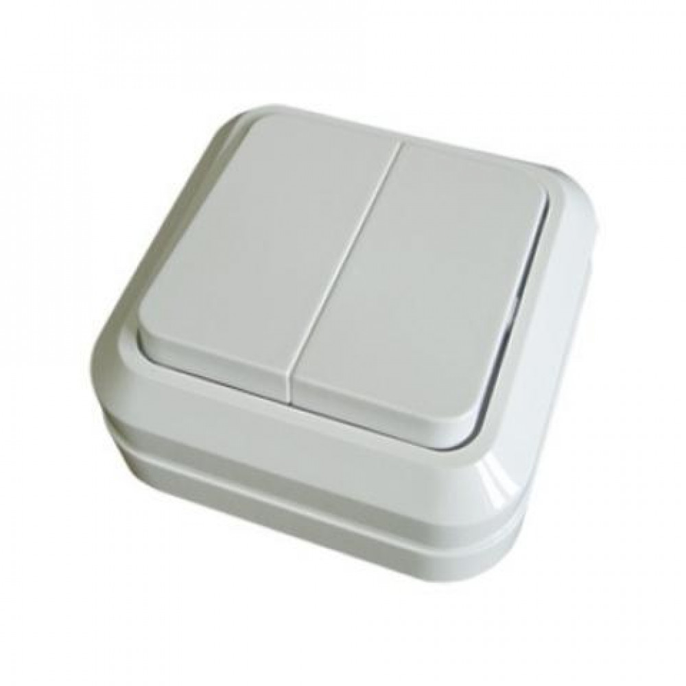 Выключатель TDM Ладога 2кл. белый (10/200)