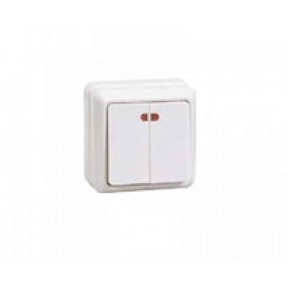 Выключатель IEK Октава 2кл. белый подсветка (36/432)