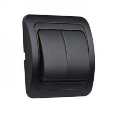 Выключатель Smartbuy Марс чёрный 2кл керамика (10/200)